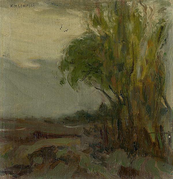 Karol Miloslav Lehotský - Náčrt krajiny so stromom v popredí