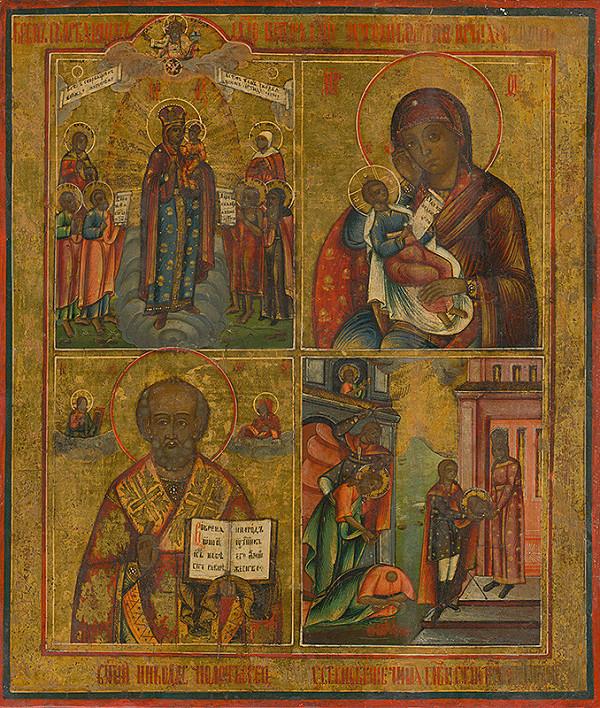Ruský ikonopisec – Ikona so štyrmi výjavmi