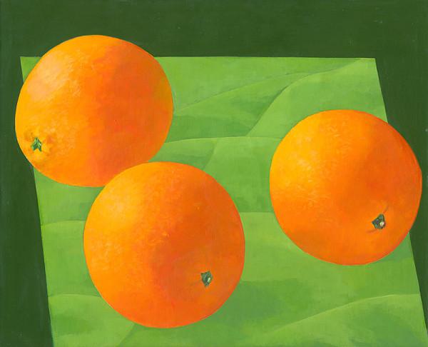 Oľga Bartošíková - Pomaranče - zátišie s 3 pomarančami