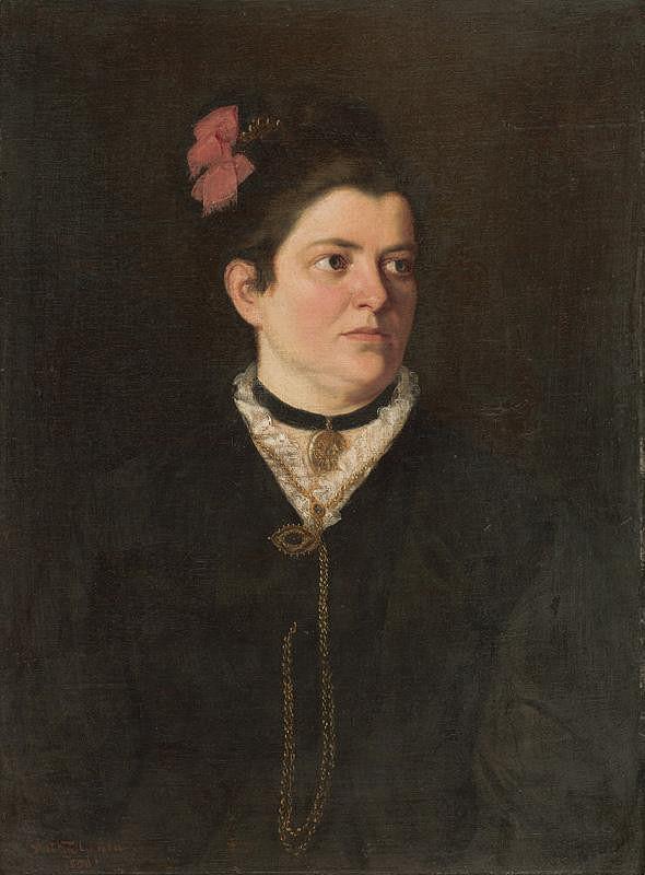Július Štetka – Podobizeň dámy s ružovou mašľou