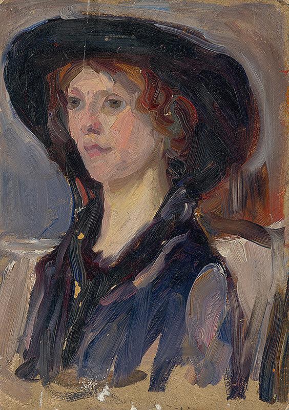 Ľudovít Pitthordt - Štúdia hlavy dievčaťa v klobúku