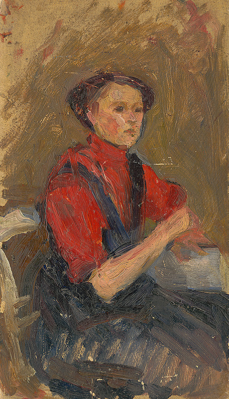 Ľudovít Pitthordt - Portrét mladej ženy v červenom svetri