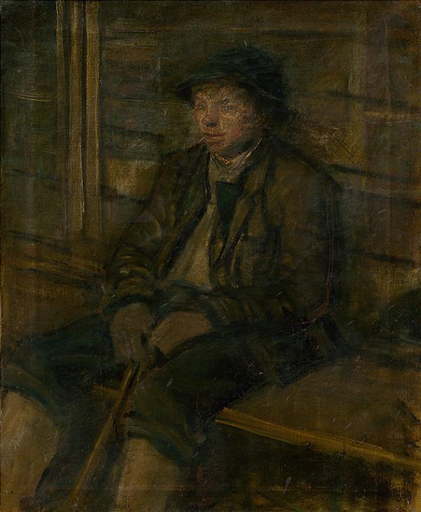 Ladislav Mednyánszky - Sediaci mladý pastier.