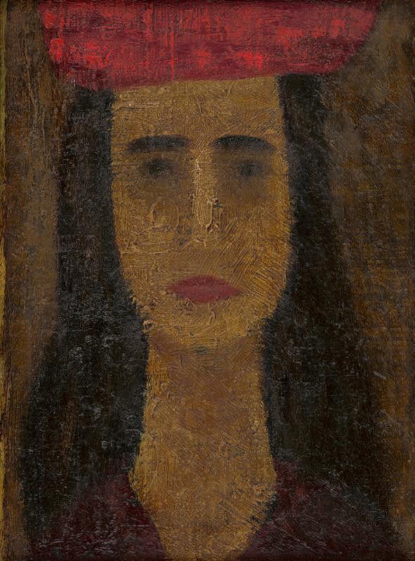 Ervín Semian – Portrét mladej dámy v červenom klobúku