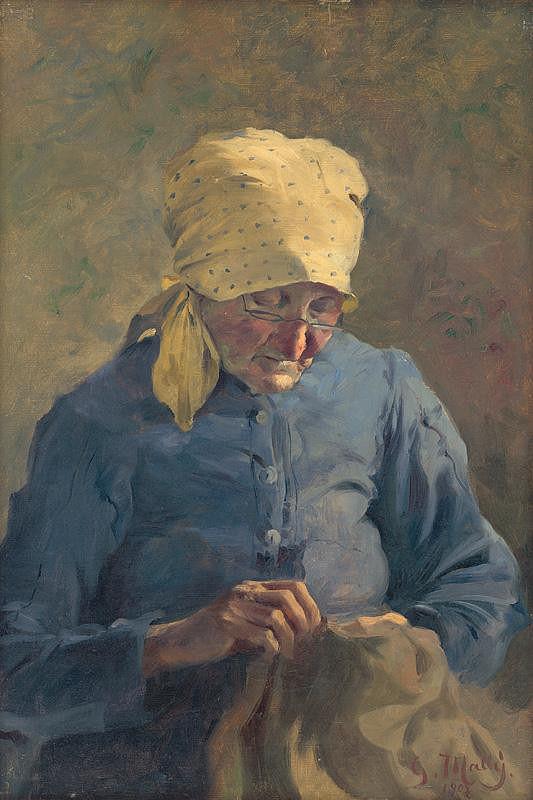 Gustáv Mallý – Šijúca starenka