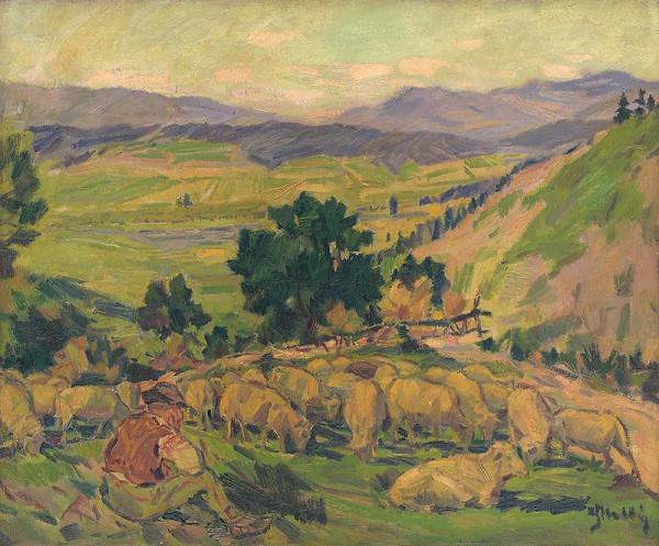 Gustáv Mallý – Krajina s ovcami
