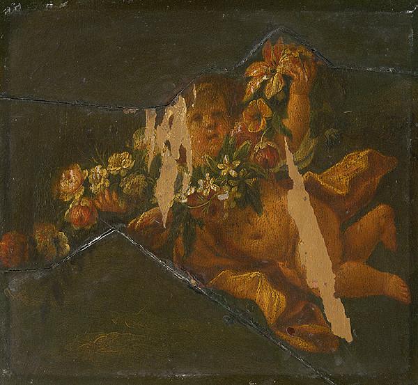 Nemecký maliar z konca 17. storočia, Flámsky maliar z konca 17. storočia - Letiace Putto s kvetmi