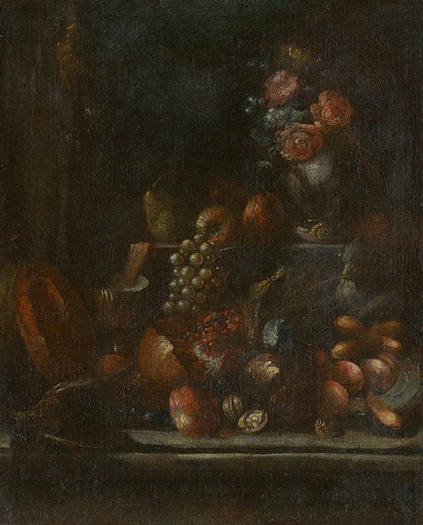 Nemecký maliar z 18. storočia - Zátišie s ovocím a vázou