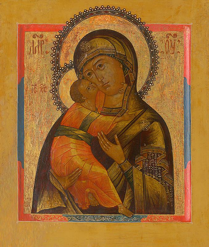 Ruský ikonopisec – Bohorodička s dieťaťom, 19. storočie