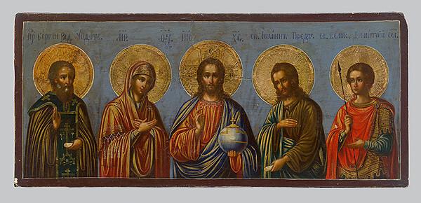 Ruský ikonopisec – Spasiteľ medzi Bohorodičkou, sv.Jánom, Sergejom a Michalom archanjelom