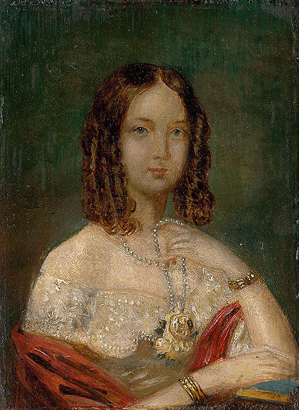 Stredoeurópsky maliar z 1. polovice 19. storočia – Podobizeň dievčaťa s náhrdelníkom