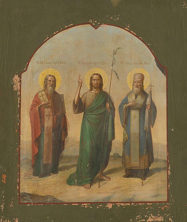 Ruský ikonopisec – Svätý Ján Krstiteľ medzi sv.Jakubom st. a sv.Ivanom Moskovským