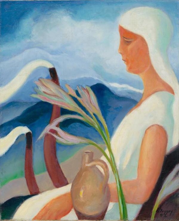 Zolo Palugyay - Dievča v bielom s továrenskými komínmi a s kvetmi