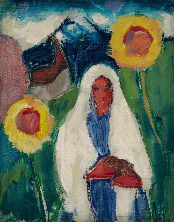 Zolo Palugyay - Náčrt ženy medzi slnečnicami