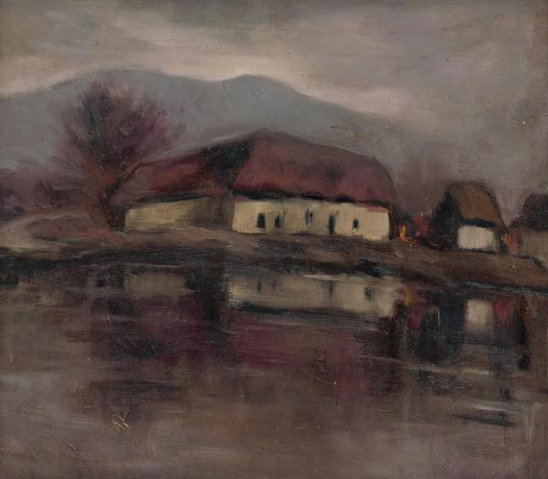 Zolo Palugyay - Náčrt krajiny s rybníkom