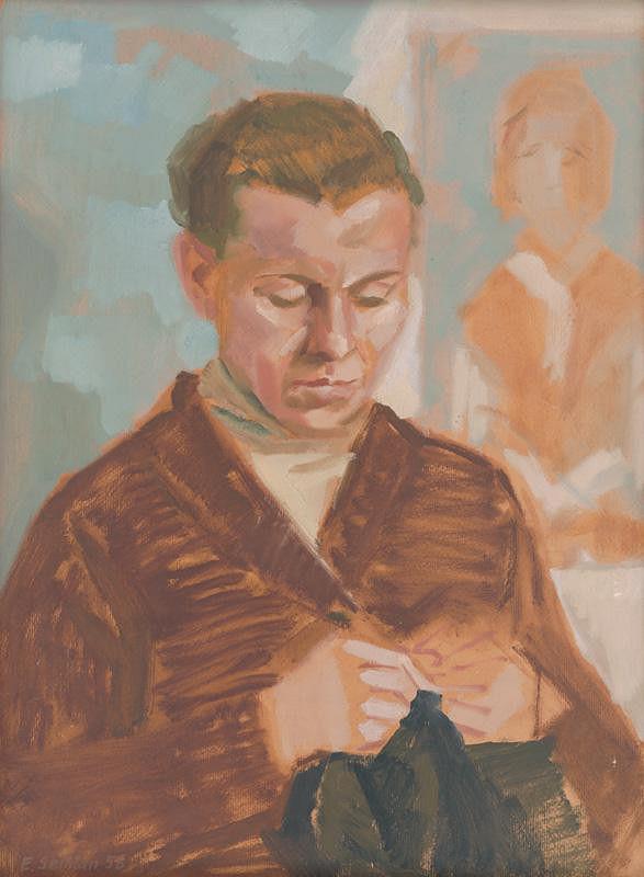 Ervín Semian – Žena s pletením