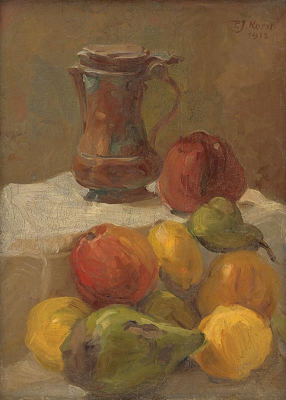 Peter Július Kern – Zátišie s ovocím a konvicou