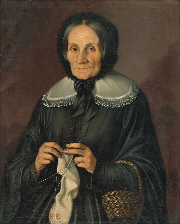 Peter Michal Bohúň - Podobizeň pani Kubíniovej pri pletení