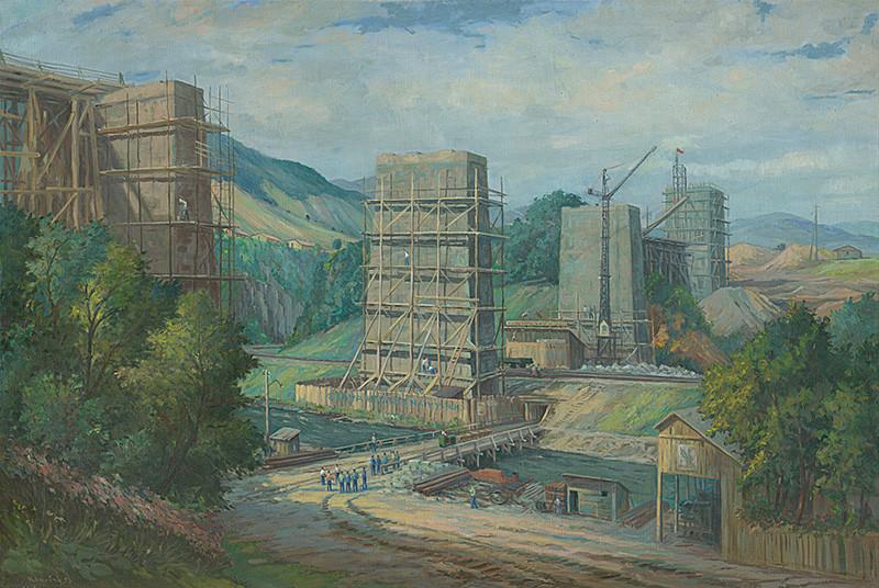 Peter Konečný – Stavba viaduktu pri Ružíne, 1953, Slovenská národná galéria