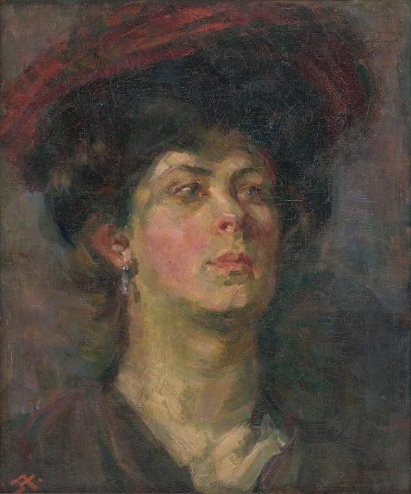 Jaroslav Augusta - Štúdia dámy v klobúku