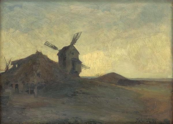 Alois Kalvoda - Krajina s veterným mlynom