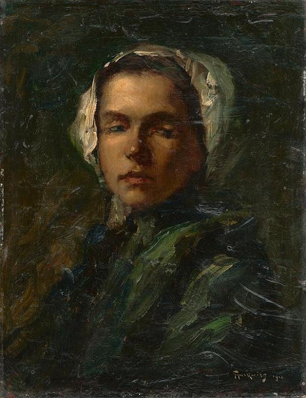 František Gyurkovits - Štúdia dievčaťa v bielom čepci