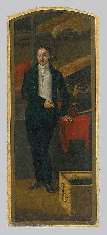 Jozef Czauczik – Obchodík s textilným tovarom. Štúdia k vývesnému štítu