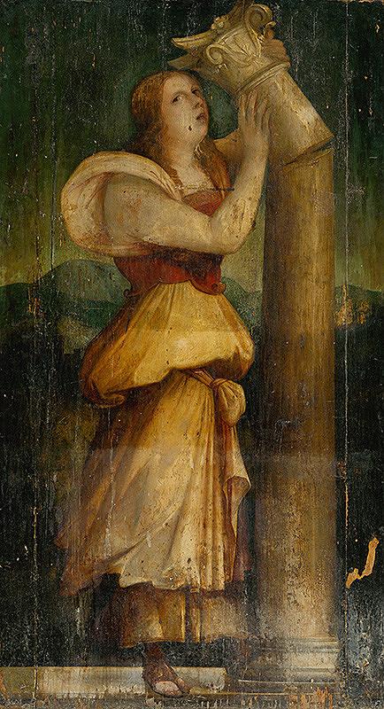 Taliansky maliar z 2. polovice 16. storočia - Dekoratívna výplň - Alegorická postava ženy so zlomeným stĺpom