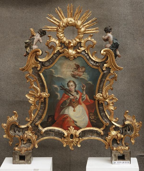 Slovenský rezbár z 3. tretiny 18. storočia, Neznámy rezbár – Obojstranný rám procesiového obrazu s postavami dvoch putti