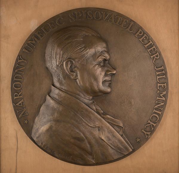 Rudolf Pribiš – Portrét Petra Jilemnického -detail pamätnej dosky-