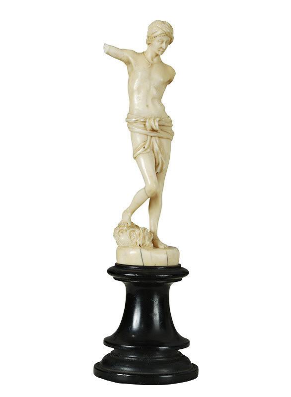 Západoeurópsky rezbár zo 17. - 18. storočia – Dávid s hlavou Goliáša