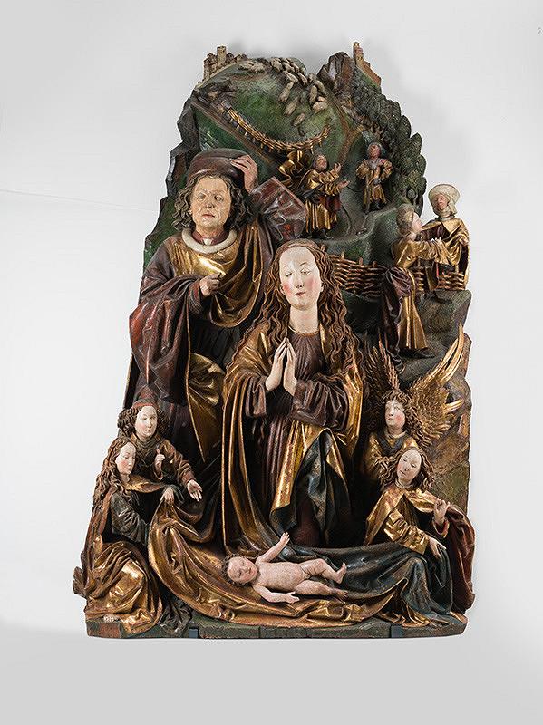 Neznámy autor, Neznámy viedenský rezbár, Hans Kamensetzer - Reliéf Adorácia Pána (tzv. Narodenie Ježiša z Hlohovca)