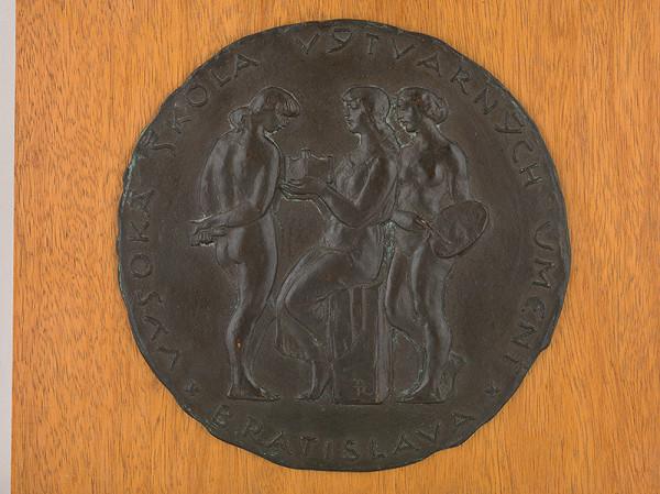 Rudolf Pribiš - Tri ženské alegorické postavy - medaila pre VŠVU v Bratislave  averz