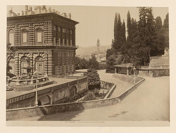 Neznámy autor – Florencia. Palác Vecchio z Boboliho záhrady (Palazzo Vecchio, Giardino di Boboli)