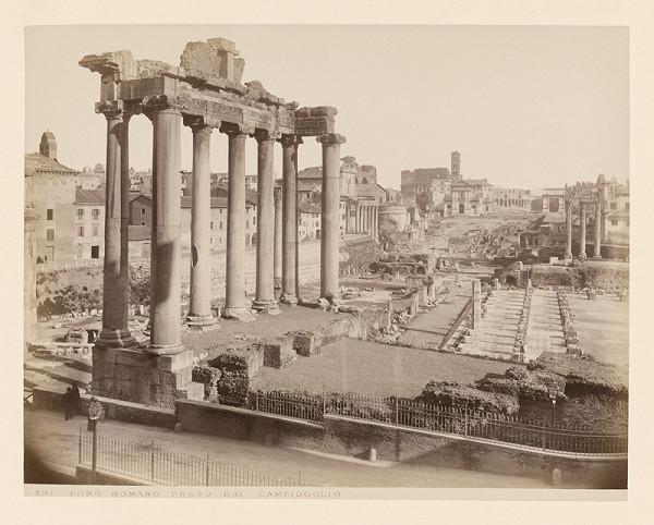 Neznámy autor - Rím. Forum Romanum od Kapitolu (Foro Romano, Campidoglio)