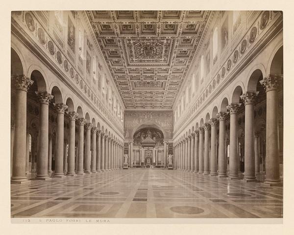 Neznámy autor - Rím. Bazilika sv. Pavla za hradbami (Basilica di San Paolo fuori le mura). Interiér