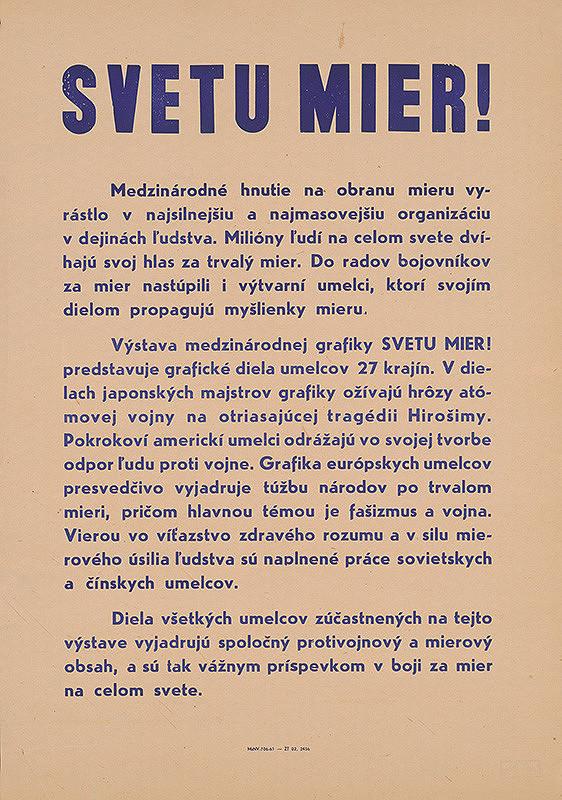 Slovenský autor - Svetu mier !