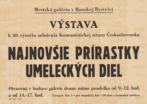 Slovenský autor – Výstava-Najnovšie prírastky umeleckých diel