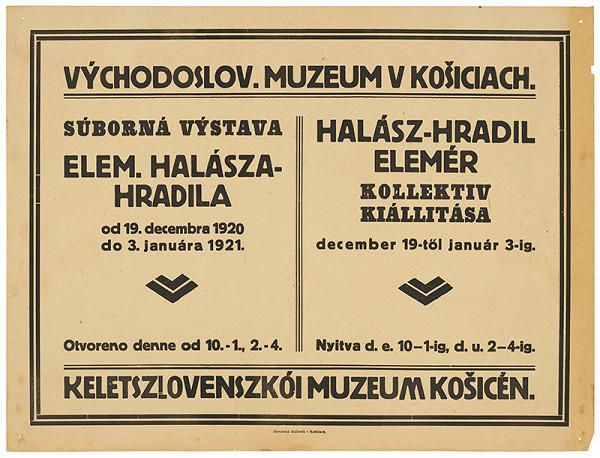 Neznámy autor – Súborná výstava Elem. Halásza-Hradila. Halász-Hradil Elemér kolektiv kiállitása. Východoslov. muzeum v Košiciach.
