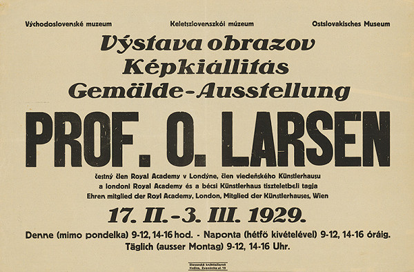 Neznámy autor – Výstava obrazov prof.O.Larsena