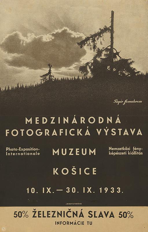 Košický autor – Medzinárodná fotografická výstava,  Múzeum Košice, 1933, Slovenská národná galéria
