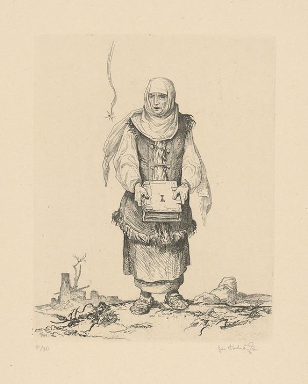 Jaroslav Vodrážka – Husitská žena s bibliou v rukách