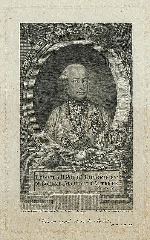 Jacob Adam – Podobizeň Leopolda II - kráľa uhorského a českého
