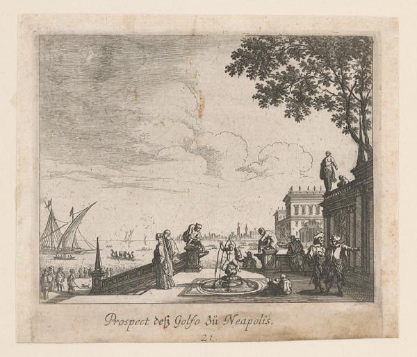 Nemecký grafik z 1. polovice 18. storočia – Pohľad na záliv v Neapoli