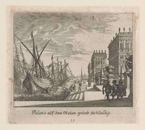 Nemecký grafik z 1. polovice 18. storočia – Paláce na novej pôde v Benátkach