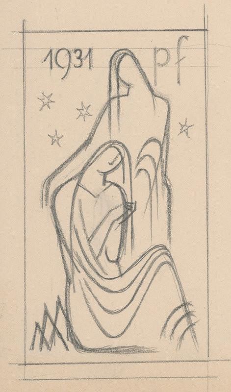 Mikuláš Galanda – Študijná kresba k novoročenke 1931