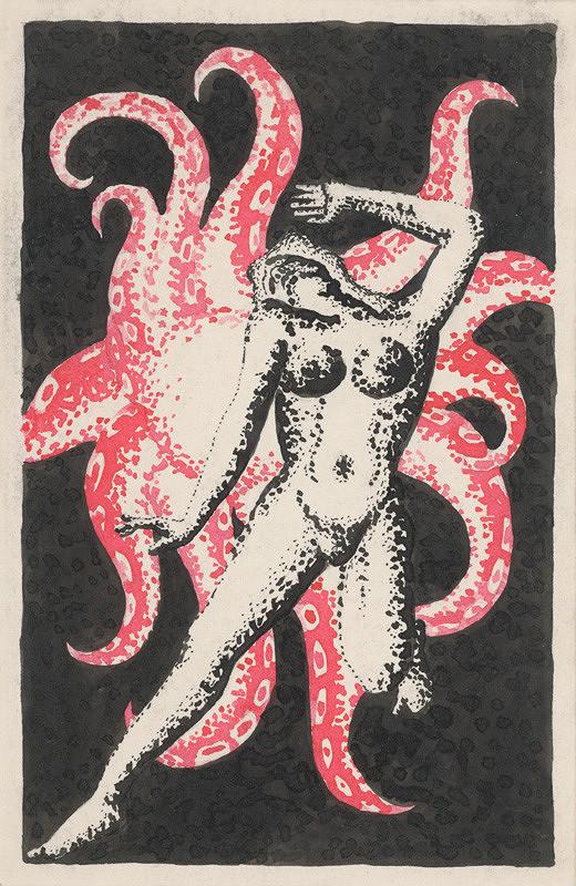 Mikuláš Galanda – Ženský akt s chobotnicou