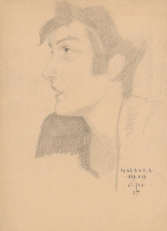 Mikuláš Galanda – Štúdia hlavy z profilu