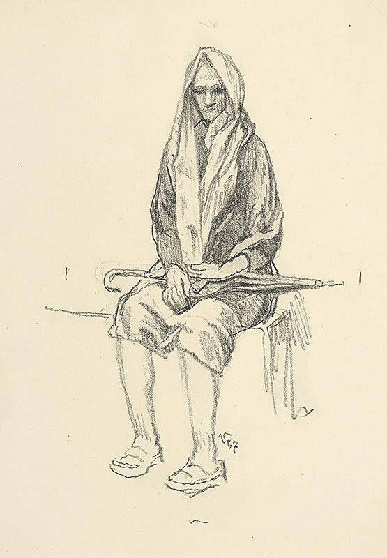 Jaroslav Vodrážka – Sediaca žena s dáždnikom