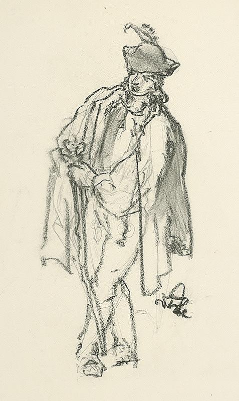 Jaroslav Vodrážka – Muž v ľudovom odeve a klobúku s pierkom